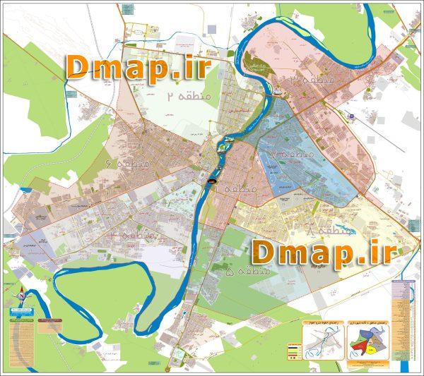 نقشه مناطق اهواز محصول دانا