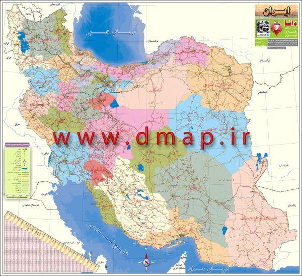 نقشه چاپی راههای ایران محصول دانا