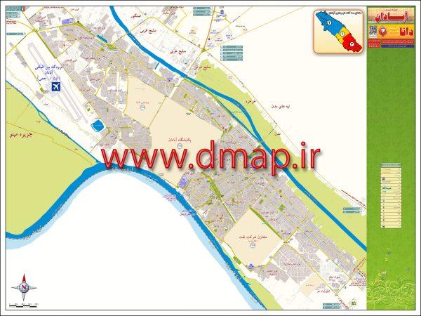 نقشه چاپی مدیریتی آبادان