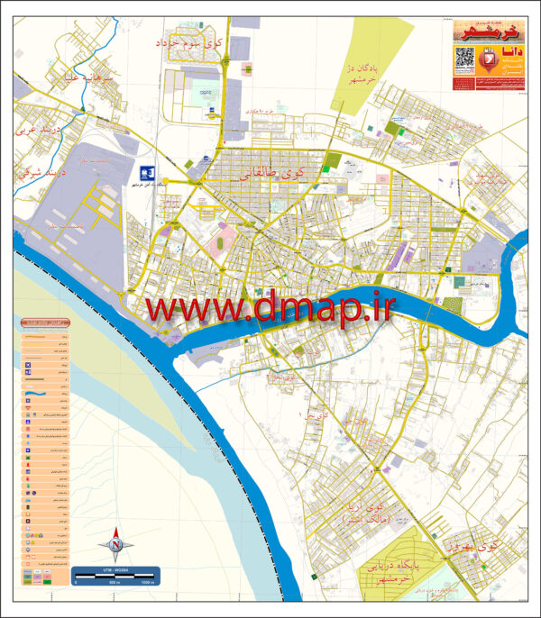 نقشه چاپی مدیریتی خرمشهر محصول دانا