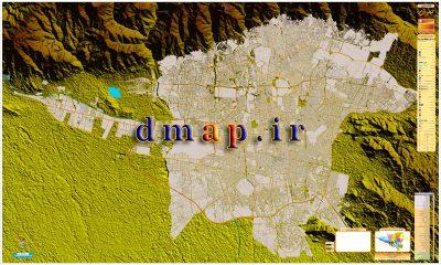 نقشه تهران همراه با ارتفاعات اطراف